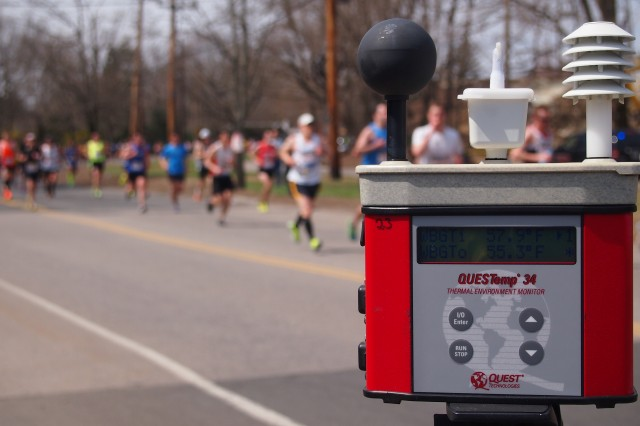 Last year, Boston Marathon participants ran past a WetBulb Globe Temperature device on the Boston Marathon race route. Since 2012, the U.S. Army Research Institute of Environmental Medicine has been an official course weather monitoring authority for the Boston Athletic Association and the Boston Marathon.