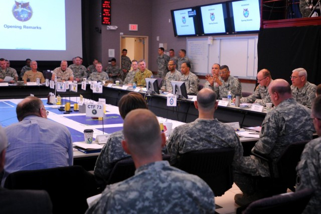 Gen. Vincent Brooks, commander of the United States Army Pacific Command, gives a few opening remarks during a theater sustainment rehearsal of concept drill, April 11, hosted by the 8th Theater Sustainment Command and USARPAC at Ford Island, Hawaii.