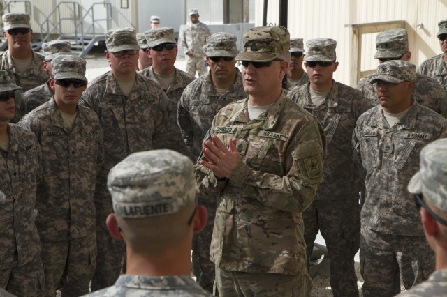 Sgt. Maj. of the Army Raymond F. Chandler III addresses Soldiers from the 3rd Battalion, 4th Air Defense Artillery Regiment, while visiting Air Defense forces throughout Southwest Asia, April 14, 2014. Chandler thanked the ADA Soldiers for their service, recognizing the demands a high operational tempo places on them and their families. He said their mission was vital to the security and stability of the region.