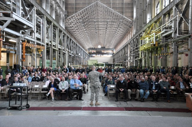 Arsenal Commander Col. Lee H. Schiller Jr. takes every opportunity to discuss safety to the workforce.  In this recent town hall meeting, Schiller used about one-quarter of his time discussing safety.