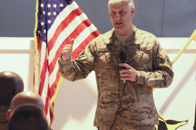 Sgt. Maj. of the Army Raymond F. Chandler III addresses Soldiers during a town hall at Forward Operating Base Pasab, in Kandahar Province, Afghanistan, April 16, 2014. Chandler visited Regional Command (South) to meet with Soldiers and to conduct town halls to answer questions and receive feedback from Soldiers about their concerns on the outlook of the Army.