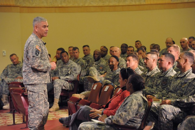 Vice Chief of Staff General John F. Campbell discusses leaders' roles in Soldier resiliency with attendees of the U.S. Army Installation Management Command Garrison Commanders and Command Sergeants Major Conference, April 8, 2014, at the historic Fort Sam Houston Theatre, on Joint Base San Antonio, Texas.