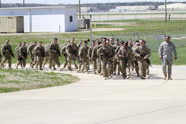 "Soldiers with the 551st Military Police Company ""Hooligans,"" 716th Military Police Battalion, 101st Sustainment Brigade ""Lifeliners,"" 101st Airborne Division (Air Assault), march to see their families and friends during a welcome home ceremony April, 10 at Fort Campbell, Ky. The Hooligans were deployed in Afghanistan for nine months where they proudly served their country with honor conducting customs missions. (U.S. Army photo by Sgt. Leejay Lockhart, 101st Sustainment Brigade Public Affairs)"