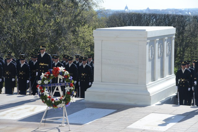 A wreath laid by Chris T. Geldart, District of Columbia Homeland Security and Emergency Management Agency (DCHSEMA) director, sits at the Tomb of the Unknown Soldier a following an Army Full Honors Wreath laying ceremony in Arlington National Cemetery, Va., April 16, 2014.