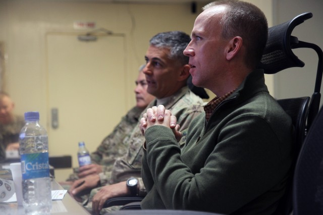Maj. Gen. Stephen J. Townsend, Commander, Combined Joint Task Force -- 10, briefs the Under Secretary of the U.S. Army Brad R. Carson, during a visit to Forward Operating Base Fenty, Afghanistan, April 17, 2014.  (U.S. Army photo by CJTF-10 and Regional Command-East Public Affairs)