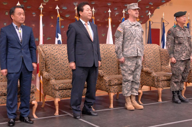 For the 36th consecutive year, Korean Augmentation to the U.S. Army and U.S. Army Soldiers worked, played and ate together, side-by-side, during the 2014 KATUSA-U.S. Friendship Week activities, April 14-18. The week was first observed in 1977, in an effort to boost morale and strengthen the mutual relationship between U.S. and KATUSA Soldiers by conducting various friendship events and cultural exchanges between both nations. Ultimately, this event seeks to strengthen the ROK-US relationship and cooperative spirit through various sports events, where Soldiers of both nations participate. -- U.S. Army photos by Helena Kim, William Kim and Effy An