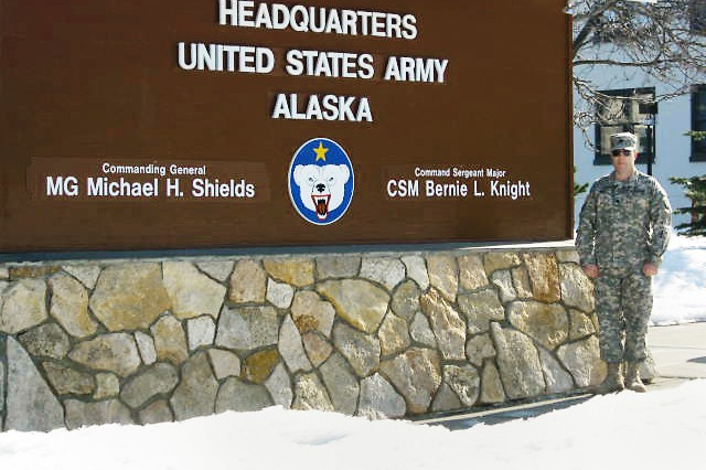 Lt. Col. Brian Wood of the Army Reserve Sustainment Command, Detachment 8, stands outside U.S. Army Alaska headquarters, Fort Wainwright, during Alaska Shield, a state-wide emergency response exercise, April 1, 2014.