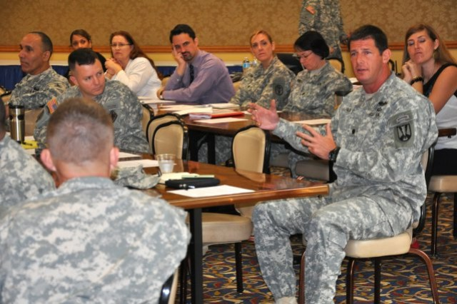 Lt. Col. J.C. Glick, commander of the 2nd Battalion, 39th Infantry Regiment, right, participates in the SHARP summit at the Fort Jackson NCO Club, April 15, 2014. The event brought out installation leaders to discuss SHARP, the Army's Sexual...