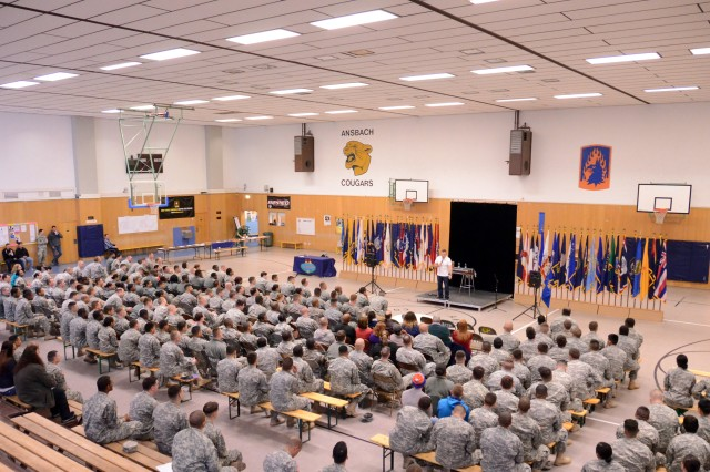"""Bernie McGrenahan delivers his stand-up comedy show April 17, 2014, at Katterbach Fitness Center to hundreds of Soldiers, civilians and Family members as part of his international """"Happy Hour"""" Comedy with a Message Tour, which stopped at Katterbach Kaserne and Storck Barracks on the same day. His visit to U.S. Army Garrison Ansbach was sponsored by the USAG Ansbach Army Substance Abuse Program. McGrenahan's show featured comedy on a variety of subjects, as well as serious subject matter on the negative consequences of alcohol and drug use."""