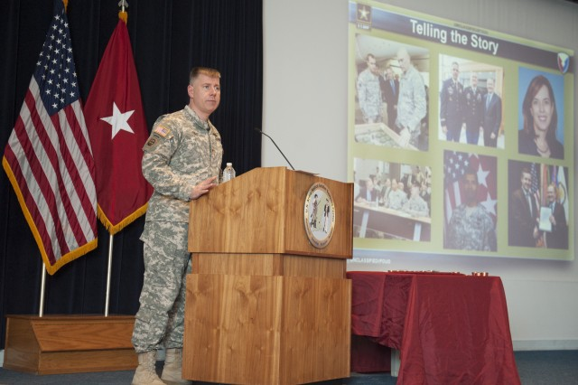 Brig. Gen. William E. Cole, Natick Soldier Systems Center commander, speaks at his first town hall meeting April 22.