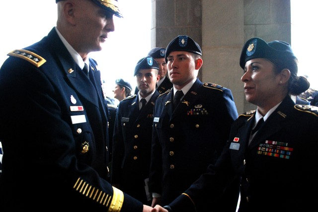 Cadet Amanda Isom shook hands with Gen. Raymond Odierno, the 38th Chief of Staff for the U.S. Army, prior to dinner and a presentation by Odierno at the 2014 George C. Marshall Seminar.
