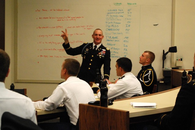Col. John Bessler, Chief of Staff for the US Army Center for Initial Military Training, spoke to Cadets during a roundtable on Cross Cultural Challenges.