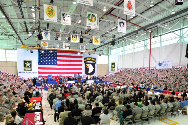 Soldiers and Family members fill Hangar 3 at Fort Campbell, Ky., to take part in the Veterans Job Summit. Among the guest speakers were First Lady Michelle Obama, Dr. Jill Biden and Medal of Honor recipient Sgt. Dakota Meyer.