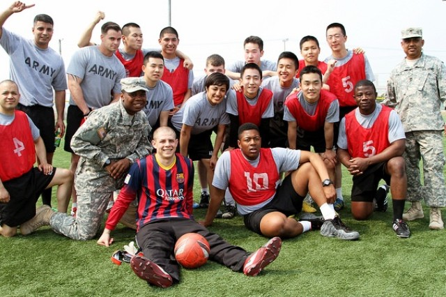 Soldiers from 3rd General Support Aviation Battalion posed for a group picture after winning 1st place in soccer during KATUSA-US Friendship Week, April 14-17, on Camp Humphreys, South Korea. United States Army Garrison Humphreys hosted KUSFW to promote friendship and cross-cultural understanding between Soldiers. (U.S. Army photo by Cpl. Park, Jae Hyung, 2nd CAB Public Affairs