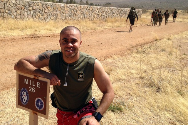 Almost there. Sgt. 1st Class Jason Connor at the 26-mile marker of the Bataan Memorial Death March, March 22. Just point 2 miles to go.