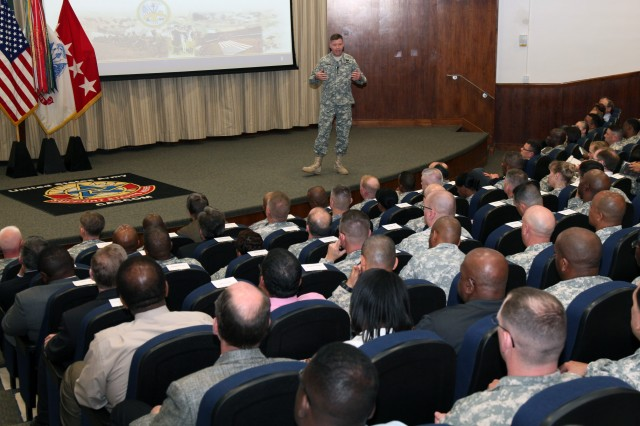 Gen. David G. Perkins, commanding general of U.S. Army Training and Doctrine Command, shares his command philosophy with Combined Arms Support Command Soldiers and civilians during an April 22 talk at the Army Logistics University on Fort Lee. This was Perkins' first visit to the Home of Sustainment as the new TRADOC commander. (U.S. Army photo by Keith Desbois)