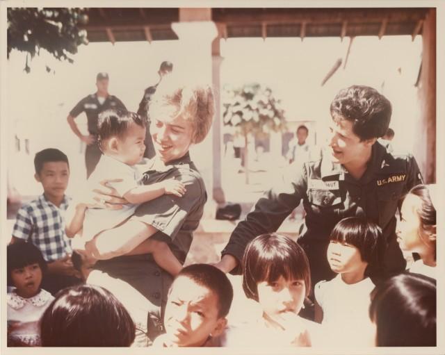 U.S. Army Nurses with Vietnamese Orphans