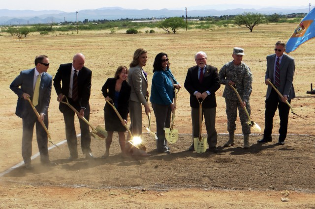Officials break ground for the Department of Defense's largest solar array, Fort Huachuca, Ariz., April 25, 2014.  (From left) David Hutchens, president of Unisource Energy Corporation and Tucson Electric Power; Steve Trenholm, president, E.ON Climate and Renewables, North America; Ruth Cox, regional administrator, General Services Administration; Amanda Simpson, executive director, U.S. Army Energy Initiatives Task Force; Katherine Hammack, assistant secretary of the Army for Installations, Energy and Environment; Representative Ron Barber, 2nd District Arizona; Maj. Gen. Robert Ashley, commanding general of the U.S. Army Intelligence Center of Excellence and Fort Huachuca; and Greg Kuhr, director of Facilities and Logistics, Installation Management Command.