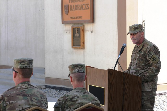 Brig. Gen. Donnie Walker Jr., 3d Sustainment Command (Expeditionary) commanding general, gives his remarks during the 3d ESC's uncasing ceremony April 22 at the New Kabul Compound in Afghanistan. The 3d ESC assumed responsibility from the 1st Theater Sustainment Command (Forward) and is charged with providing logistical and transitional support during their deployment.(U.S. Army photo by Sgt. Justin Silvers)