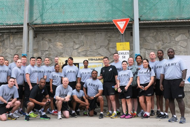 Soldiers from the 3d ESC participated in a SHARP 5k April 25 at the New Kabul Compound in Afghanistan.