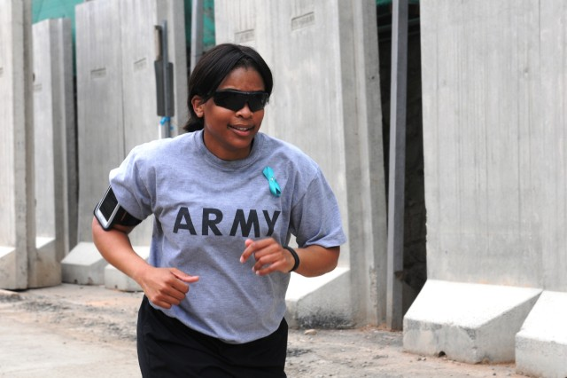 Soldiers from the 3d ESC participated in a SHARP 5k April 25 at the New Kabul Compound in Afghanistan