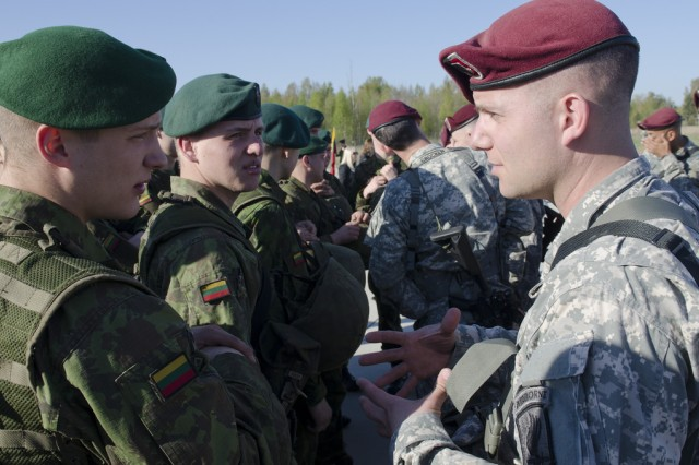 Paratroopers from the 173rd Airborne Brigade arrived in Lithuania, April 26, 2014, in order to begin a training exercise with Lithuanian land forces. The paratroopeers training with NATO allies in Poland, Estonia, Latvia and Lithuania are part of recently announced exercises to demonstrate U.S. commitment to the alliance and to increase interoperability between forces.
