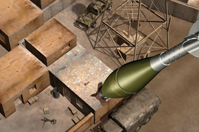 This illustration depicts an XM395 Accelerated Precision Mortar Initiative round closing in on a target. The mortar round, a product of Army-led R&D, provides a quick, reliable and lethal response, especially in mountainous terrain inaccessible to artillery and in built-up areas where commanders are reluctant to employ conventional fire support that could cause collateral damage.