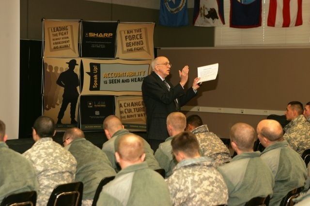Retired Army Maj. Gen. Robert D. Shadley speaks to the Fort McCoy, Wis., community as part of the observance of Sexual Assault Awareness Month.