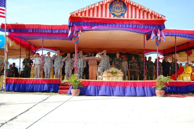 U.S. Army and Royal Cambodian Armed Forces attended the opening ceremony for Angkor Sentinel 2014, at the Peacekeeping Operations School in Kampong Speu Province, Cambodia, April 20, 2014. More than 1,000 Soldiers participated in the ceremony.