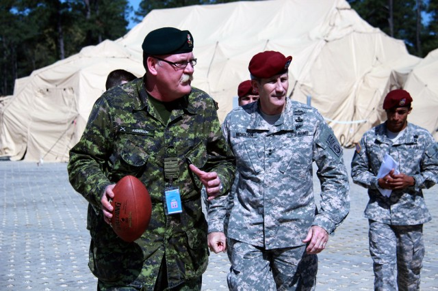 82nd Airborne Division commander, Maj. Gen. John W. Nicholson and 1st Canadian Mechanized Brigade Group commander, Col. David Anderson conduct battlefield circulation and discuss Warfighter Exercise 14-4 held at Fort Bragg, N.C., April 8 --  April 17.