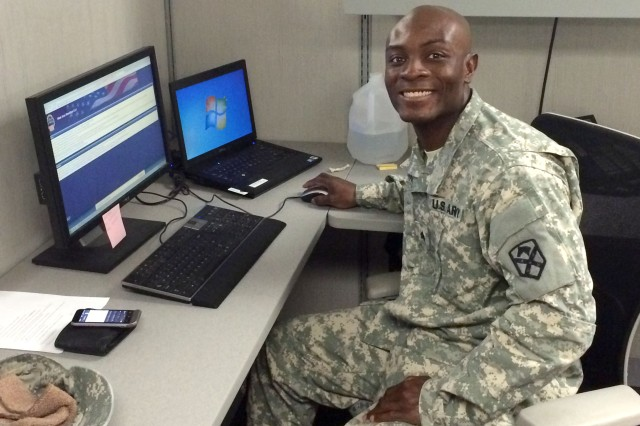 Sgt. Martial Tchimou serves as the non-commissioned officer-in-charge of financial management Soldiers at the Mission and Installation Contracting Command contracting office at Fort Bliss, Texas.