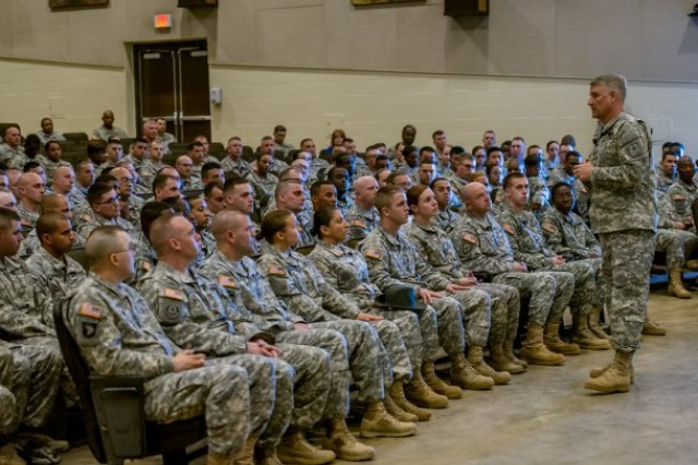 Sgt. Maj. of the Army Raymond Chandler speaks to Soldiers at town hall meeting on Fort Leonard Wood, Mo., April 25, 2014. One of Chandler's key messages was that a Soldier's character, commitment and competence plays in role in helping the Army combat sexual assaults and suicides in the Army.