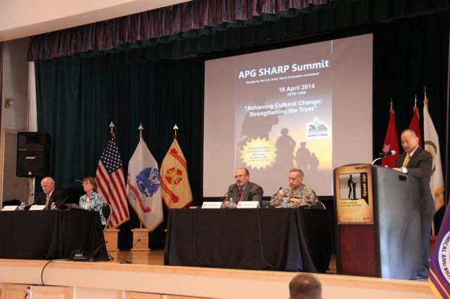 Photo Credit: Lindsey Monger Aberdeen Proving Ground senior leaders participate on leadership panel discussion at the 2014 APG Sexual Harassment and Assault Response and Prevention (SHARP) Summit, April 16 at Aberdeen Proving Ground-South. The summit provided a forum where senior APG leaders exchange ideas, best practices and discuss the way ahead to encourage reporting practices and spark a culture change of trust that holds offenders accountable for sexual harassment and assault offenses. The APG leadership panel participants included (from left to right) include Douglas Bryce (SES), Deputy, Joint Program Executive Office-Chemical and Biological Defense; Suzanne Milchling (SES), Director of Program Integration, Army Edgewood Chemical Biological Center; Gary Martin (SES), deputy to the commanding general of the U.S. Army Communications-Electronics Command; and Maj. Gen. Peter D. Utley, commander of the U.S. Army Test and Evaluation Command and host of the summit.