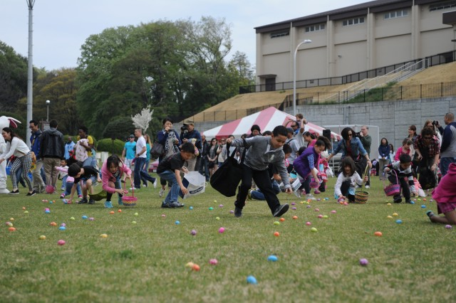 "An ""egg hunt"" was held April 19 at Dewey Park on Camp Zama in support of the ""Month of the Military Child"". Children from the community participated in the egg hunt, face painting and other activities at the event."