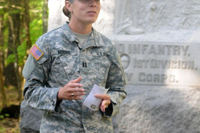 Capt. Sara M. Morris, briefing officer with the Army Reserve 314th Press Camp Headquarters, teaches soldiers of the 314th PCH about Gen. Braxton Bragg's role in the Battle of Chickamauga at the Chickamauga and Chattanooga National Military Park in Rossville, Ga. The Soldiers of the 314th took part in a long-standing Army tradition called the staff ride, where officers and senior non-commissioned officers tour a battlefield to understand higher level decision-making, tactics and leadership. (US Army photo by Staff Sgt. Paul Roberts/ 314th PCH Released)