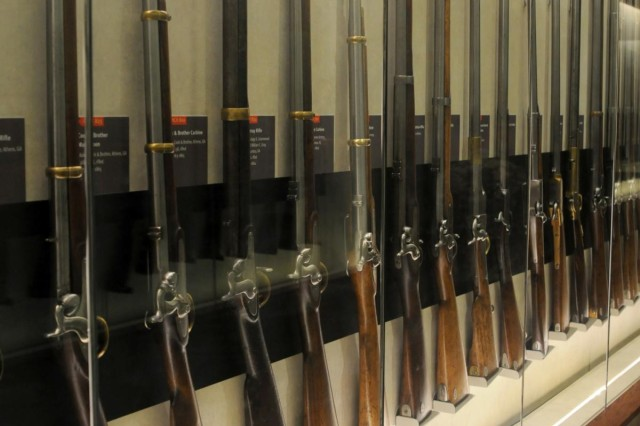 One of several display cases of rifles and muskets shown at the Chickamauga and Chattanooga National Military Park museum in Rossville, Ga., date back to the Colonial Period up to World War I.  (US Army photo by Staff Sgt. Paul Roberts/ 314th PCH Released)