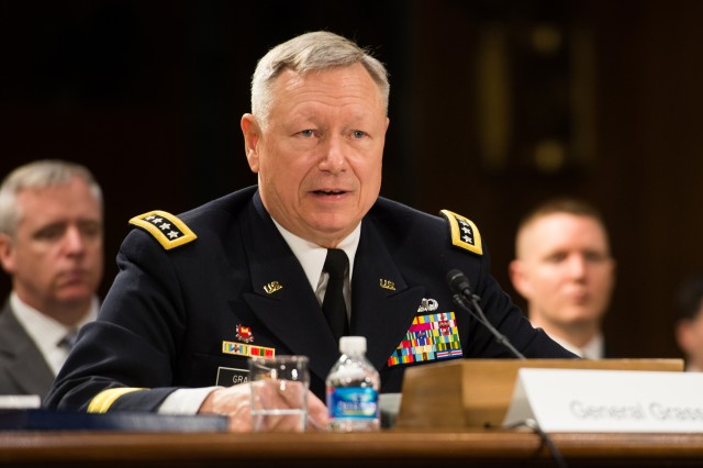 Chief of the National Guard Bureau Gen. Frank J. Grass addresses the Senate Committee on Appropriations , Defense subcommittee during testimony on the Army's fiscal year 2015 Budget, April 30, 2014.