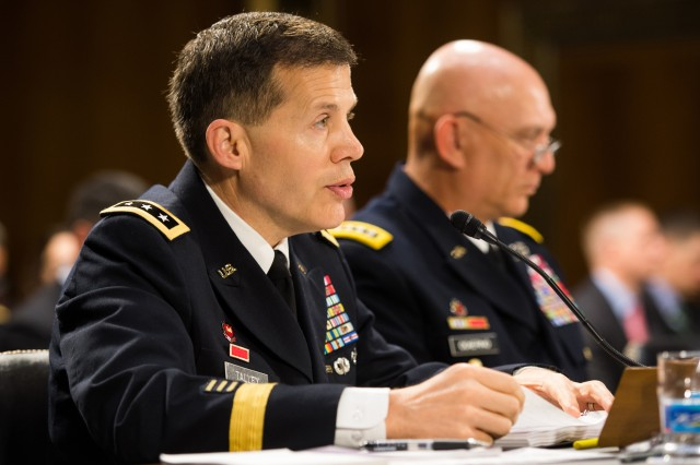 Chief of the Army Reserve and Commanding General of the U.S. Army Reserve Command Lt. Gen. Jeffrey W. Talley addresses the Senate Committee on Appropriations Subcommittee on Defense during during testimony on the Army's fiscal year 2015 Budget, April 30, 2014.