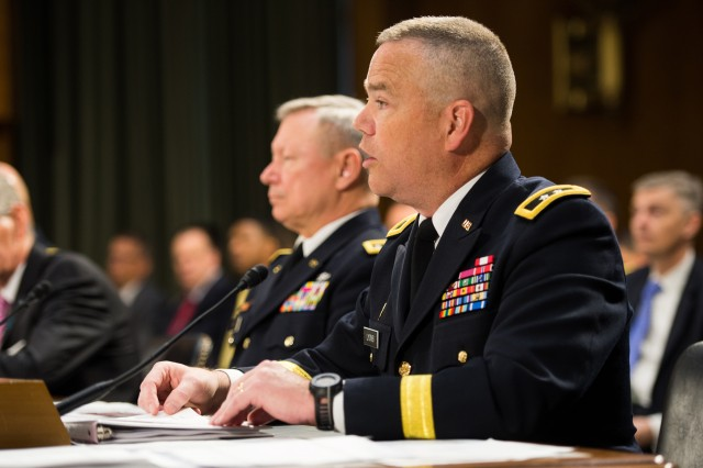 Acting Director of the Army National Guard Maj. Gen. Judd H. Lyons addresses the Senate Committee on Appropriations, Defense Subcommittee during testimony on the Army's fiscal year 2015 budget, April 30, 2014.