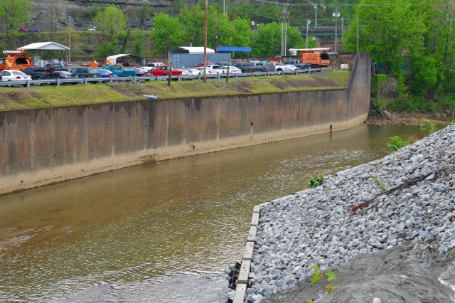 The Island Creek Local Protection Project (photographed), a nearly $39 million channel modification endeavor and Flood Warning System is designed to bring much needed reprieve from the damages of all too frequent flooding in Logan, W. Va.