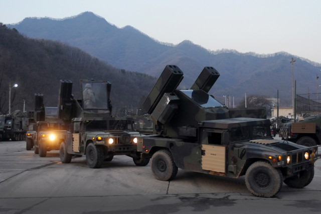 Soldiers from the 210th Field Artillery Brigade, 2nd Infantry Division, participate in a divisionwide alert on Jan. 27, 2014, at Camp Casey, South Korea, to test and improve the unit's readiness to deter aggression toward the Republic of Korea.