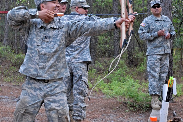 Soldiers with the 165th Infantry Brigade participate in the unit's Lightning Challenge team building exercise April 25, 2014, at Fort Jackson, S.C.