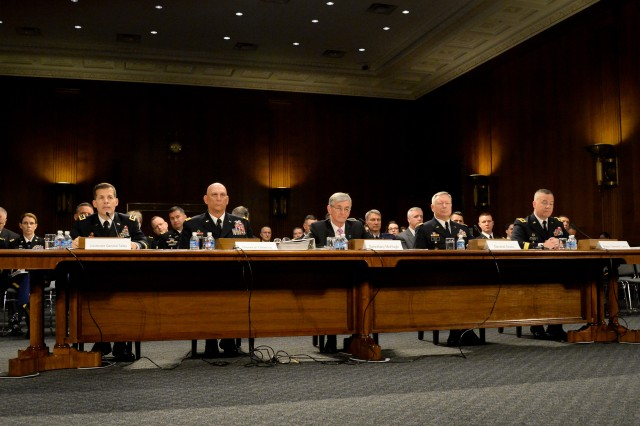 From left, Lt. Gen. Jeffrey W. Talley, chief, Army Reserve; Army Chief of Staff Gen. Ray Odierno; Secretary of the Army John M. McHugh; Gen. Frank Grass, chief, National Guard Bureau; Maj. Gen. Judd H. Lyons, acting director, Army National Guard testify before the Senate Committee on Appropriations Subcommittee on Defense on the Army's fiscal year 2015 Budget, April 30, 2014.