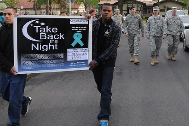 As part of Sexual Assault Awareness Month, U.S. Army Garrison Bavaria hosted 'Take Back the Night,' a rally and walk highlighting the problem of sexual assault in the Army, April 29.