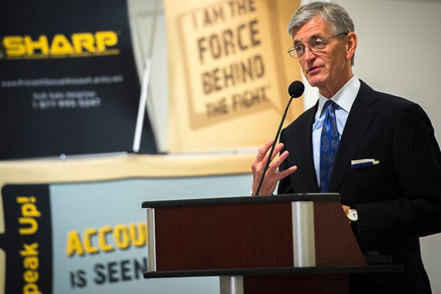 Secretary of the Army John M. McHugh speaks at a Pentagon ceremony marking the start of Sexual Assault Awareness Month, which was observed in April. The Secretary of the Army fully established a special victim's advocacy program Nov. 1, 2013, that entitles victims of sexual assault to legal representation from the moment the victim reports the crime through the conclusion of all legal proceedings against the alleged perpetrator.