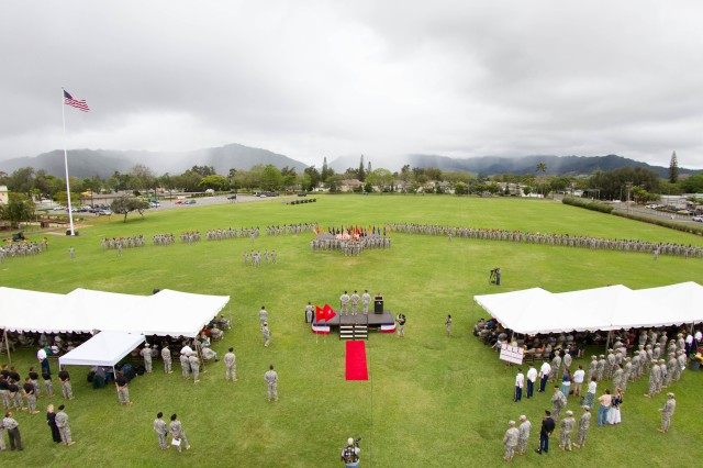 Maj. Gen. Kurt Fuller, former commander, 25th Infantry Division, Lt. Gen. Stephen Lanza, commander, I Corps, Joint Base Lewis-McChord and Maj. Gen. Charles Flynn, commander, 25th Infantry Division, stand before the Division's colors during the change of command ceremony held on Weyand Field, Schofield Barracks, Hawaii, May 2, 2014. The ceremony was to say farewell to Maj. Gen. Kurt Fuller, and welcome Maj. Gen. Charles Flynn to the Tropic Lightning Division.