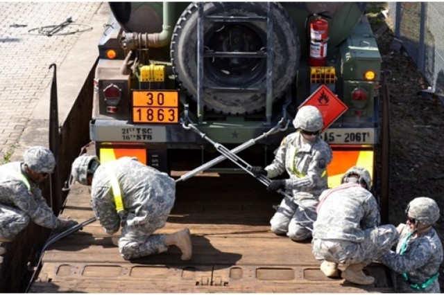 Soldiers from various units within the 16th Sustainment Brigade, 21st Theater Sustainment Command, practice blocking and bracing techniques on an M969 fuel tanker truck at Quartermaster Kaserne in Baumholder, Germany, April 10, 2014.