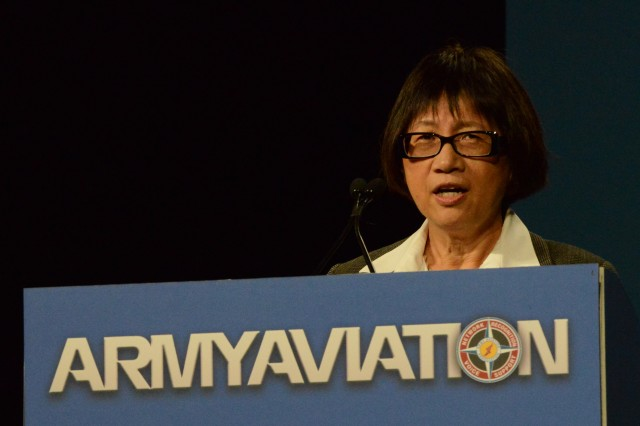 Heidi Shyu, assistant secretary of the Army for Acquisition, Logistics and Technology, speaks at the two-day Army Aviation Association of America 2014 Mission Solutions Summit at the Gaylord Opryland Hotel in Nashville, May 5, 2014.
