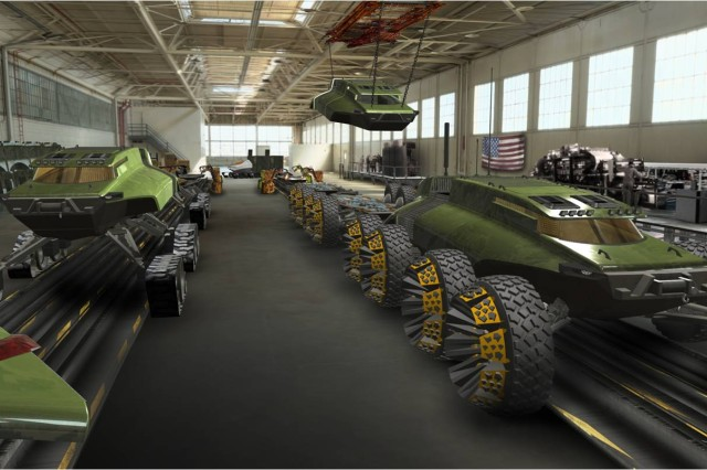This artist rendering depicts a future combat vehicle assembly line at the Detroit Arsenal. High-mobility ground combat vehicles capable of tackling any terrain or environmental condition (track or wheeled) are imagined by Tank Automotive Research, Development and Engineering Center systems engineers.