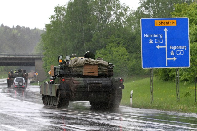 Soldiers from Company C, 2nd Battalion, 5th Cavalry Regiment, 1st Brigade Combat Team, 1st Cavalry Division drive their tanks to Hohenfels Army base after retrieving them from the railhead. The Soldiers are participating in Combined Resolve II, a U.S. Army Europe-directed multinational exercise at the Grafenwoehr and Hohenfels Training Areas, including more than 4,000 participants from 13 allied and partner countries (U.S. Army photos by Capt. John Farmer, 1st BCT, 1st Cav Public Affairs).